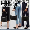 Gucci Bags | Gucci Bamboo Nylon Patent Leather Shoulder Bag | Color: Black/Brown | Size: L9.4 X W5.9 X H7.2 Handle Drop: 9.8