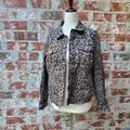 Nine West Jackets & Coats | Nine West Cheetah Denim Jacket Size Medium | Color: Black/Brown | Size: M