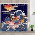 Rideau de douche de mer coupe-vent de dessin animé Kanagawa, décoration de salle de bains,