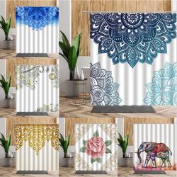 Rideau de douche motif Floral Mandala indien, Paisley bohème, motif géométrique, tissu de bain,