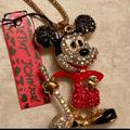 Disney Jewelry   24k Gold Plated Betsey Johnson Mickey Mouse Disney Necklace   Color: Gold/Red   Size: 24