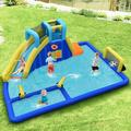 Gymax Inflatable Water Slide Bounce House Climbing Wall Without Blower in Blue/Yellow   Wayfair GYM07805