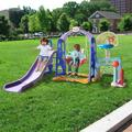QH 6 In 1 Indoor & Outdoor Slide Swing & Basketball Football Baseball Set in Indigo, Size 46.4 H x 74.8 W x 68.8 D in | Wayfair qhuang2105240011