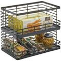 SWU Wide Stacking Wire Baskets Food Organizer Storage Metal Basket w/ Open Front For Kitchen Cabinet, Pantry, Cupboard, & Shelves - Organize Fruits