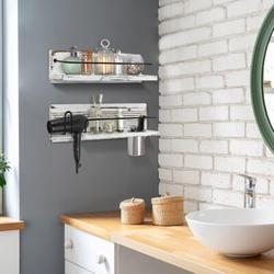 Gracie Oaks Wall Mounted Bathroom Storage Shelves Set Of 2, Rustic Floating Bathroom Shelves in White, Size 15.0 H x 16.6 W x 4.7 D in | Wayfair