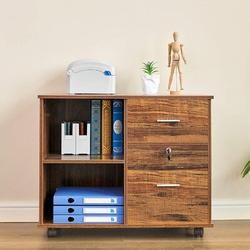 Inbox Zero 2 Drawers File Cabinet Wooden Lateral File Cabinet w/ Open Storage Shelves Printer Stand Rolling File Cabinets w/ Lock For Letter Size Or A4 Hangi