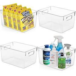 Rebrilliant Plastic Storage Bins - Perfect Kitchen Organization & Storage, Pantry Organization & Storage, Fridge Organizer, Refrigerator Organizer