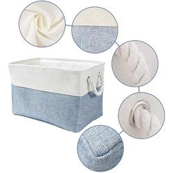 Rosecliff Heights Storage Basket, Foldable Sturdy Storage Bins w/ Cotton Rope Handle in Blue, Size 15.75 H x 11.81 W x 8.27 D in   Wayfair