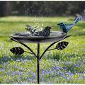 Red Barrel Studio® Outdoor Garden Bird Bath Stainless Cast Iron Birdbath Bracket Garden Bird Feeder w/ Metal Stake Bird Bath Bowl Birdfeeder Outdoor Birdbath Decor For