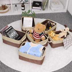 Latitude Run® Storage Baskets [6 Pack] Small Fabric Canvas Collapsible Storage Bins 11.8 X 7.8 X 5 Inches Organizer Baskets w/ Handles Decorative Square Baskets F Fabric