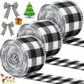 The Holiday Aisle® 3 Rolls Christmas Wired Edge Ribbons 30 Yards X 2 Inches Wired Plaid Ribbon For Christmas DIY Wrapping Wedding Party Bow Craft Making