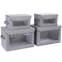 Rebrilliant Storage Bins w/ Lids, 4 Pack Fabric Storage Baskets w/ Handle Collapsible Organizer Closet Storage Box w/ Window For Clothes, Toys