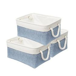 Longshore Tides Storage Basket, Foldable Sturdy Storage Bins w/ Cotton Rope Handle in Blue, Size 6.7 H x 13.8 W x 9.8 D in   Wayfair