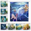 Rideaux de douche sirène, belle fille, queue de poisson, fond de mer vert océan, décor de salle de
