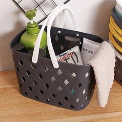 Rebrilliant , 7.2 Plastic Organizer Storage Basket w/ Handles, Woven Storage Bins For Bathroom, Kitchen, Closet, Bedroom Plastic in Black   Wayfair