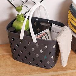 Rebrilliant Plastic Organizer Storage Basket w/ Handles, Woven Storage Bins For Bathroom, Kitchen, Closet, Bedroom Plastic in Black | Wayfair