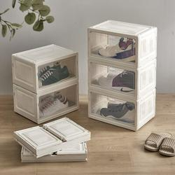 """Rebrilliant Shoe Storage Boxes,6 Packs Large Plastic Stackable Display Shoe Box w/ Lip Clear Door For Sneakers Heels Up To US Size 13"""" Collection"""