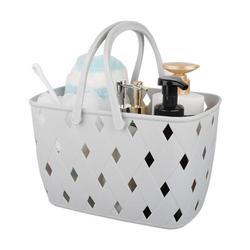 Rebrilliant , 9.3 Plastic Organizer Storage Basket w/ Handles, Woven Storage Bins For Bathroom, Kitchen, Closet, Bedroom Plastic in Gray   Wayfair