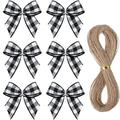 The Holiday Aisle® 100 Pieces Mini Gingham Ribbon Bows Christmas Buffalo Plaid Bows Checkered Flowers Appliques Bows w/ 66 Feet Rope For Sewing Wrapping DIY Craft Wedd