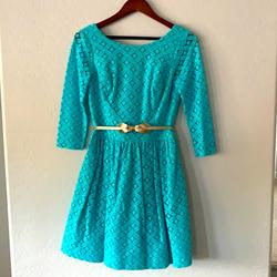Lilly Pulitzer Dresses | Light Blue Lilly Pulitzer Dress Size 4 With Lilly Pulitzer Gold Belt | Color: Blue | Size: 4