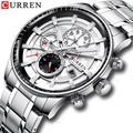 CURREN – montre de Sport pour hommes, bracelet en acier inoxydable, chronographe, Date automatique