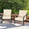 Winston Porter Patiojoy Set Of 2 Patio Dining Chairs Outdoor Armchairs W/padded Cushions For Backyard Garden Balcony in Black   Wayfair