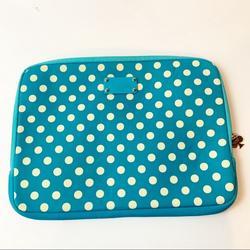 Kate Spade Accessories | Kate Spade 13x10 Soft Laptop Case Logo Classic Spade Zipper Pull Blue Polka Dot | Color: Blue/White | Size: Os