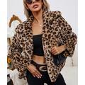 Romantichut Women's Non-Denim Casual Jackets brown - Brown Leopard Print Fuzzy Jacket - Women