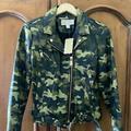 Michael Kors Jackets & Coats | Michael Kors Camo Faux Leather Motorcycle Jacket | Color: Black | Size: M