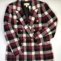 Michael Kors Jackets & Coats | New Michael Kors Women'S Burgundy Plaid Wool Coat | Color: Gray | Size: 12