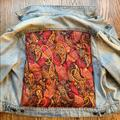 Free People Jackets & Coats | Free People Xs Quilted Paisley Print Denim Jacket | Color: Red | Size: Xs