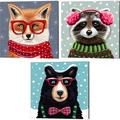 Trinx Sly Fox, Cute Raccoon & Jer Bear By Elizabeth Tyndall, Canvas Art Set Of 3 in Black/Brown/Red, Size 14.0 H x 14.0 W x 0.75 D in   Wayfair