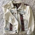 Free People Jackets & Coats | Free People Cropped Denim Jacket | Color: White/Silver | Size: 6