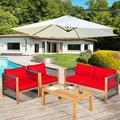 Bayou Breeze Patiojoy 8-piece Outdoor Patio Wood Conversation Furniture Set Padded Chair w/ Coffee Table Red Wood/Natural Hardwoods in Brown/White