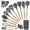 SCHCJI Kitchen Utensils Set w/ Holder -Non-Stick Silicone Cooking Utensils Wooden Handle Spatula Spoon Turner Tongs Silicon Whisk Kitchen Gadgets Utensil S