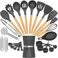 SCHCJI Silicone Cooking Kitchen Utensil Set,Heat Resistant Kitchen Utensils Spatula Set For Nonstick Cookware, Turner,Tongs, Pizza Cutter in Gray