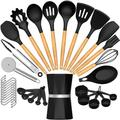 SCHCJI Silicone Cooking Kitchen Utensil Set,Heat Resistant Kitchen Utensils Spatula Set For Nonstick Cookware, Turner,Tongs, Pizza Cutter in Black