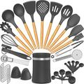 SCHCJI Silicone Cooking Utensil Set,Silicone Cooking Kitchen Utensils Set w/ Wooden Handle, Non-Stick Heat Resistant - Best Kitchen Cookware Set