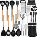 SCHCJI Silicone Kitchen Cooking Utensils Set,Non-Stick Kitchen Utensils Spatula w/ Holder,Non-Stick Heat Resistant Kitchen Cookware w/ Wooden Handle