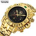 Temeite – montre à Quartz dorée pour homme, marque de luxe, grande taille, style militaire