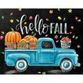 The Holiday Aisle® DIY Diamond Painting Full Drill Pumpkin Truck Paint w/ Diamonds Cross Stitch Picture Rhinestones Diamond Mosaic Kits Arts Crafts Home Decor(Pumpkin