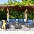 Latitude Run® 7 Piece Set w/ Section & End Table Outdoor Sofa Combination() Wicker/Rattan in Blue, Size 25.19 H x 110.22 W x 29.52 D in | Wayfair