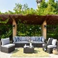 Latitude Run® 7 Piece Set w/ Section & End Table Outdoor Sofa Combination(Blue) Wicker/Rattan in Gray | Wayfair 1838ED2232F4436580A2FCCBDF579B55
