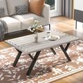 """17 Stories Rustic Coffee Table/End Table, Wood Top & Metal Legs Table For Living Room,43""""(Gray) Wood in White, Size 17.5 H x 43.0 W x 28.0 D in"""