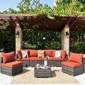 Latitude Run® 7 Piece Set w/ Section & End Table Outdoor Sofa Combination(Blue) Wicker/Rattan in Red, Size 25.19 H x 110.22 W x 29.52 D in | Wayfair