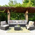 Latitude Run® 7 Piece Set w/ Section & End Table Outdoor Sofa Combination(Blue) Wicker/Rattan in Gray | Wayfair CDF994CB7F4742E3BD18D8C9C4EEEEE9