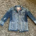 Jessica Simpson Jackets & Coats | Jessica Simpson Distressed Embroidery Jean Jacket | Color: Blue/Pink | Size: Xs