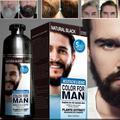 Crème de teinture pour barbe 100% naturelle pour hommes, shampoing colorant noir naturel à