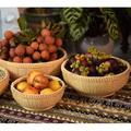 Bungalow Rose Bamboo Fruit Basket For Kitchen, Bread Baskets For Kitchen Counter, Multi-Purpose Storage Round Vegetable Basket in Black | Wayfair