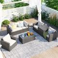 Red Barrel Studio® Patio Furniture Sets, 7-Piece Patio Wicker Sofa w/ Adustable Backrest, Cushions, Chairs, A Loveseat in Brown/Gray   Wayfair